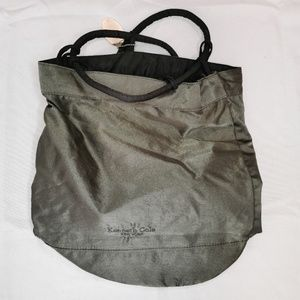 Kenneth Cole   Shiny Gray Drawstring Backpack